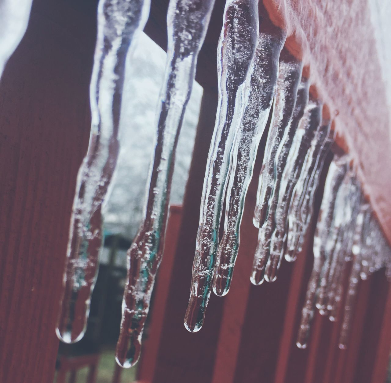 Ice Icicles Winter Frozen Close-up Cold Temperature Snow Outdoors Beauty In Nature Cloud - Sky Water