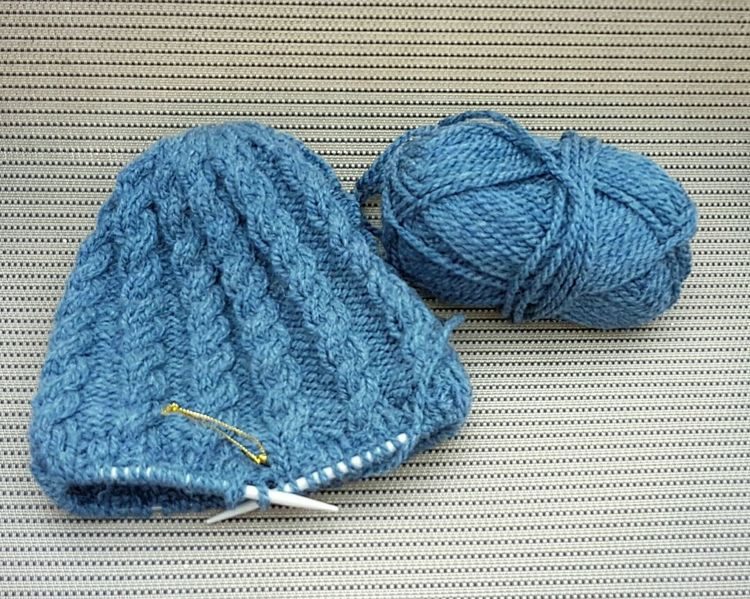 Knitting Art And Craft Textile Close-up Hobby Past-time Low Angle View blue Wool Hat Craft Circularneedles Cable Pattern Cable Beanie