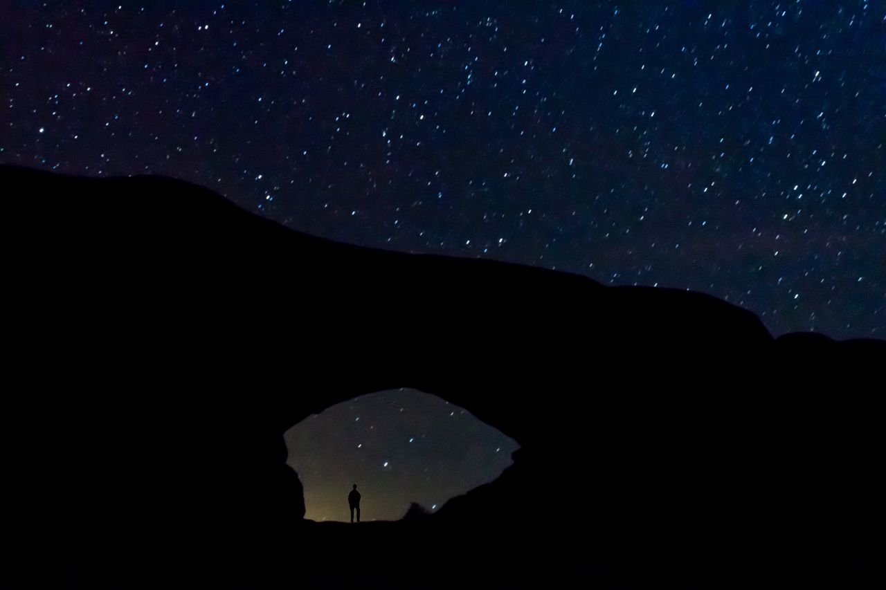 Night Star - Space Nature Astronomy Dark Tranquil Scene Idyllic Silhouette Outdoors Scenics Sky Landscape Arches National Park, Utah Arch Arches National Park National Park Utah Nightphotography Stars Nikon