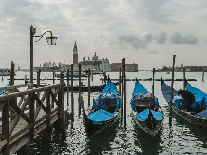 Gondolas and view to San Giorgio Maggiore, Venice Cloud - Sky Italy Nature Nautical Vessel Tourism Transportation Travel Travel Destinations Treavelling Venice, Italy Water