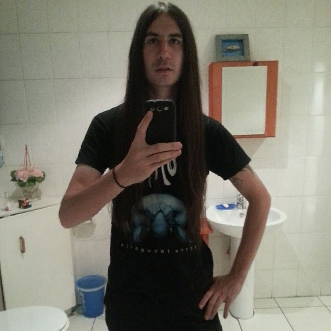 "The point of this photo is to show how slim I am. This will be used as my ""Before"" picture. As I progress I'll do better comparisons Metal Blackmetal Deathmetal Longhairedguys Longhair Gojira skinnywhiteguy"