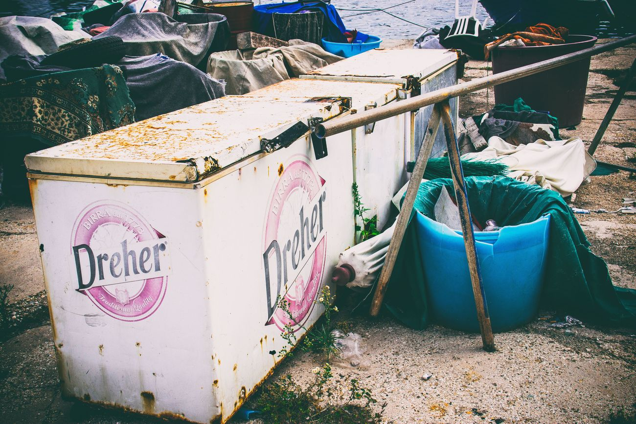 Trash at the harbour of Bari. Bari Bars Broken Buckets Cloths Destroyed Dirt Dreher Evanescence Freezer Garbage Harbour Italy Old Eye4photography  Rust Shabby Shades Streetphotography Tires Trash Photography Various Vignette Vintage