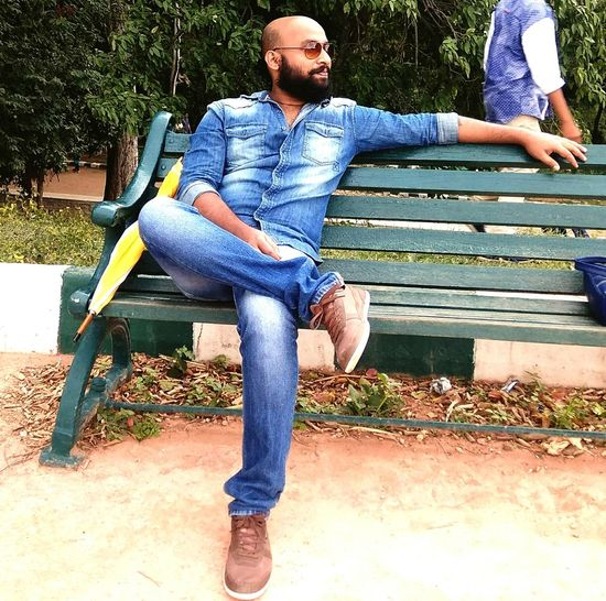 Beard Casual Clothing Full Length Jeans Leisure Activity One Person Park - Man Made Space Adults Only Bearded Baldhead Sunglasses👓 People Nature The Week On EyeEm