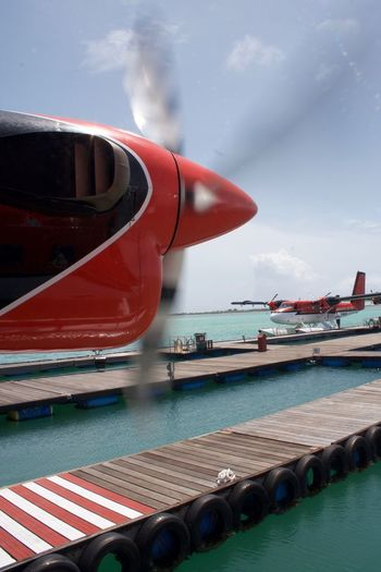 Maldives Sea Plane Airplane Close-up Day Mode Of Transport Nautical Vessel No People Outdoors Red Sea Sky Transportation Water