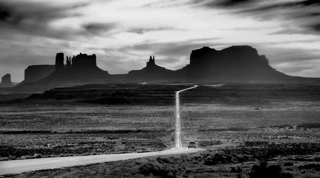 Monument Valley as seen from Mile Marker 13 Black And White Blackandwhite Forest Gump Iconic Mile Marker 13 Monument Valley USA Utah Landscapes The Great Outdoors With Adobe The Great Outdoors - 2016 EyeEm Awards The Great Outdoors With Adobe