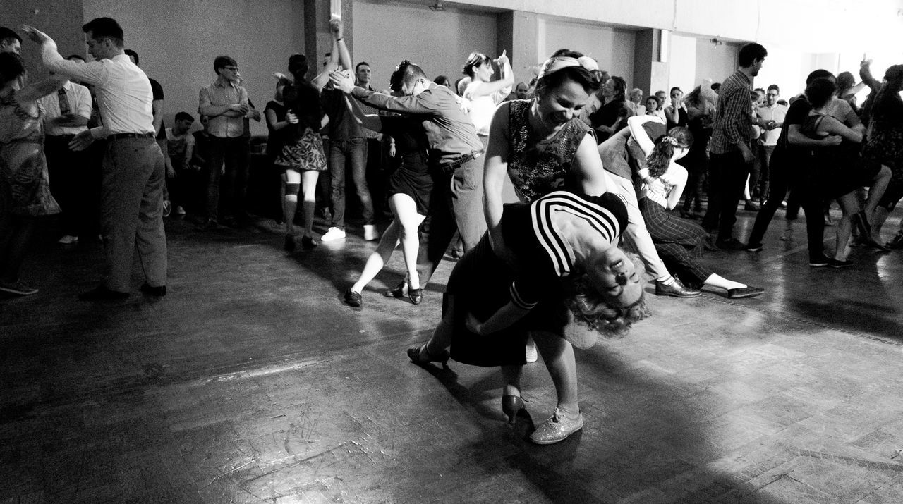 Dancing the swing Crowd Dance Dancing Day Full Length Indoors  Large Group Of People Lifestyles Men Motion People Performance Real People Swing Women Women Around The World