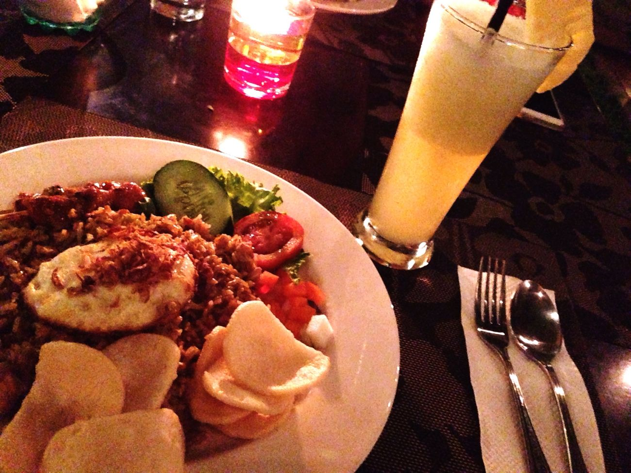 Bali Seminyak Dinner Nasigoreng Pineapplejuice Juice Pineapple