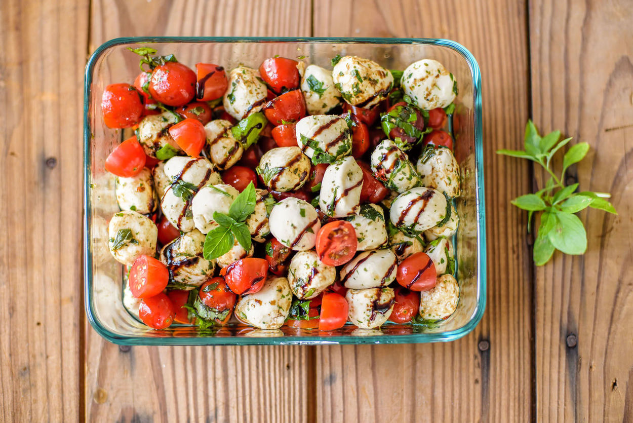 Basil Dish Glaze Balsamic Caprese Close-up Directly Above Food Food And Drink Fresh Freshness Healthy Eating High Angle View Indoors  Mozzarella Overhead Overhead View Recipe Salad Sprig Tomato Vegetable Sidedish Capresesalad