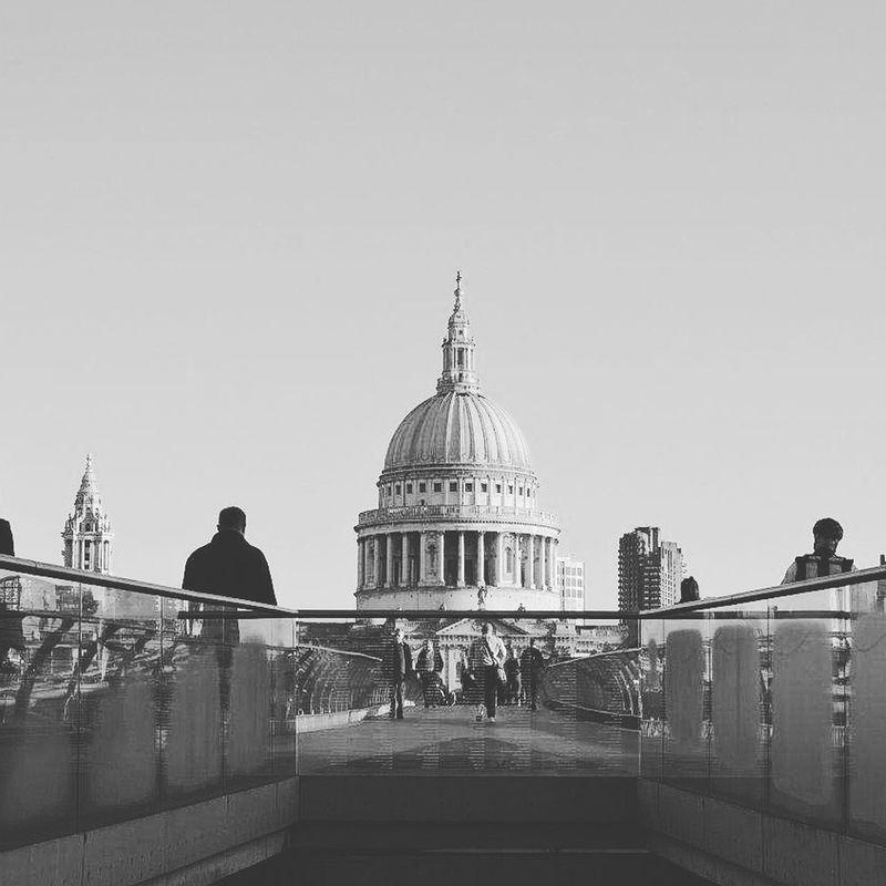 London St Pauls Cathedral Cityoflondon Millenium Bridge Monochrome