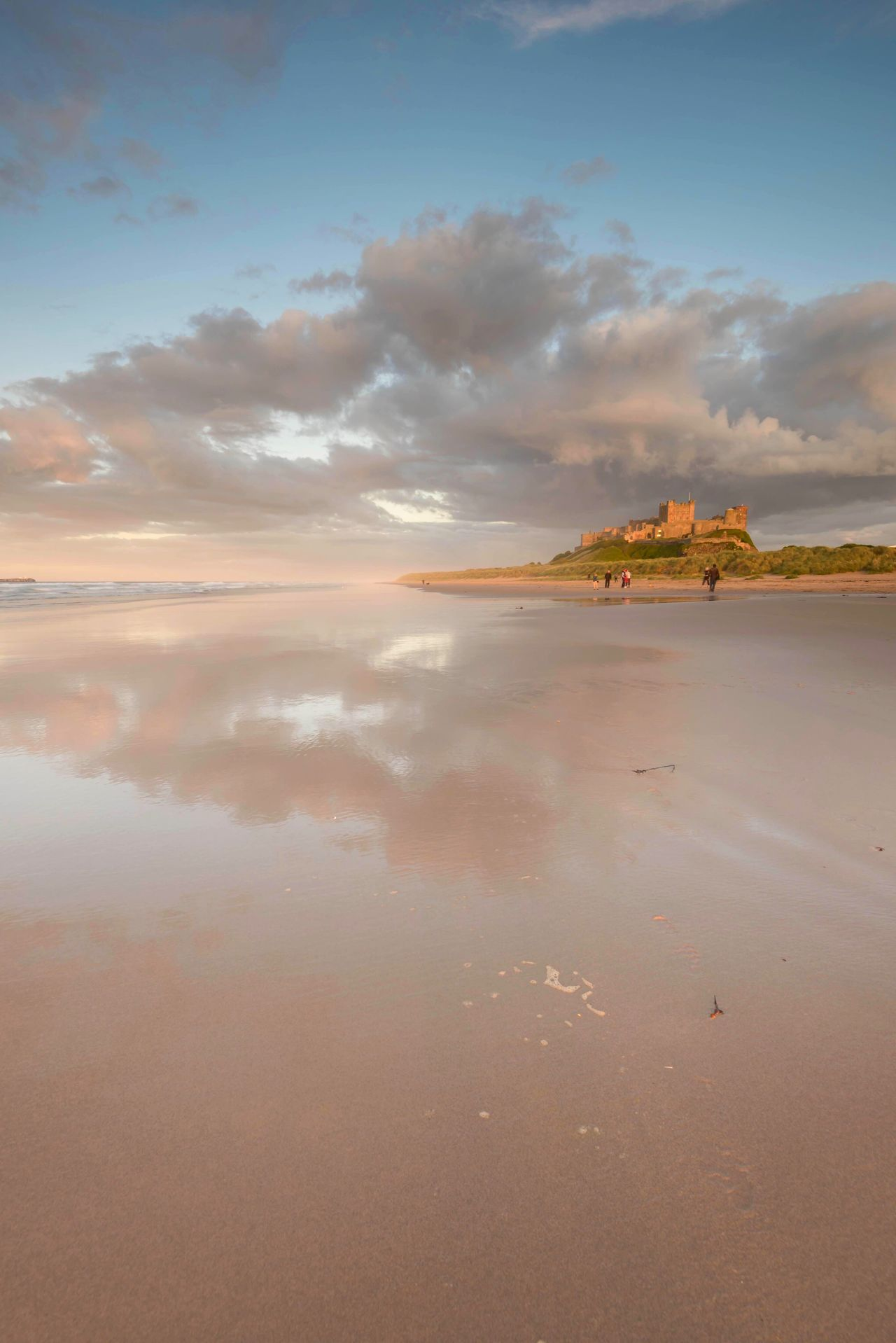 Sand Castle Scenics Beach Northumberland Bamburgh Castle Beachphotography Clouds And Sky Reflection The Great Outdoors - 2017 EyeEm Awards Beauty In Nature Tranquil Scene Beach Walk Sunset Outdoors Scenery Love Nature Enjoying The View Landscape Travel Destinations Nature Beach Life Seaside Coastline Tranquility Cloudporn