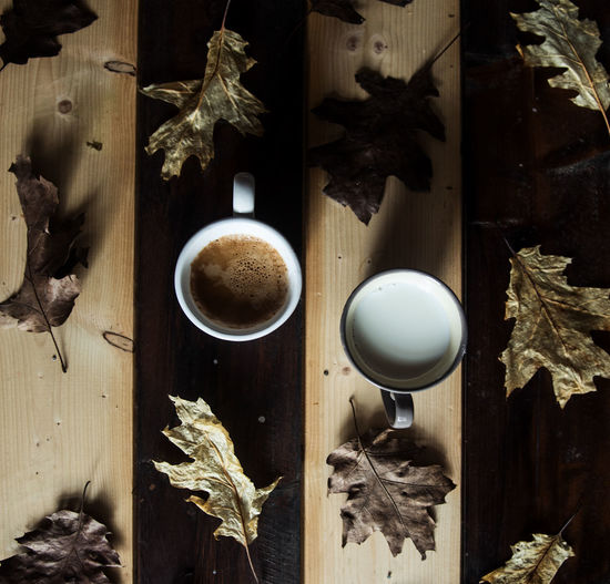 Opposites Coffee Contrasting Colors Contrasts Drink Flatlay Flatlayoftheday Flatlaystudio Food Foodphotography Foodporn From Above  Indoors  Leaves Milk Moody Mugs No People Opposite Colors Opposites Wood Wood - Material