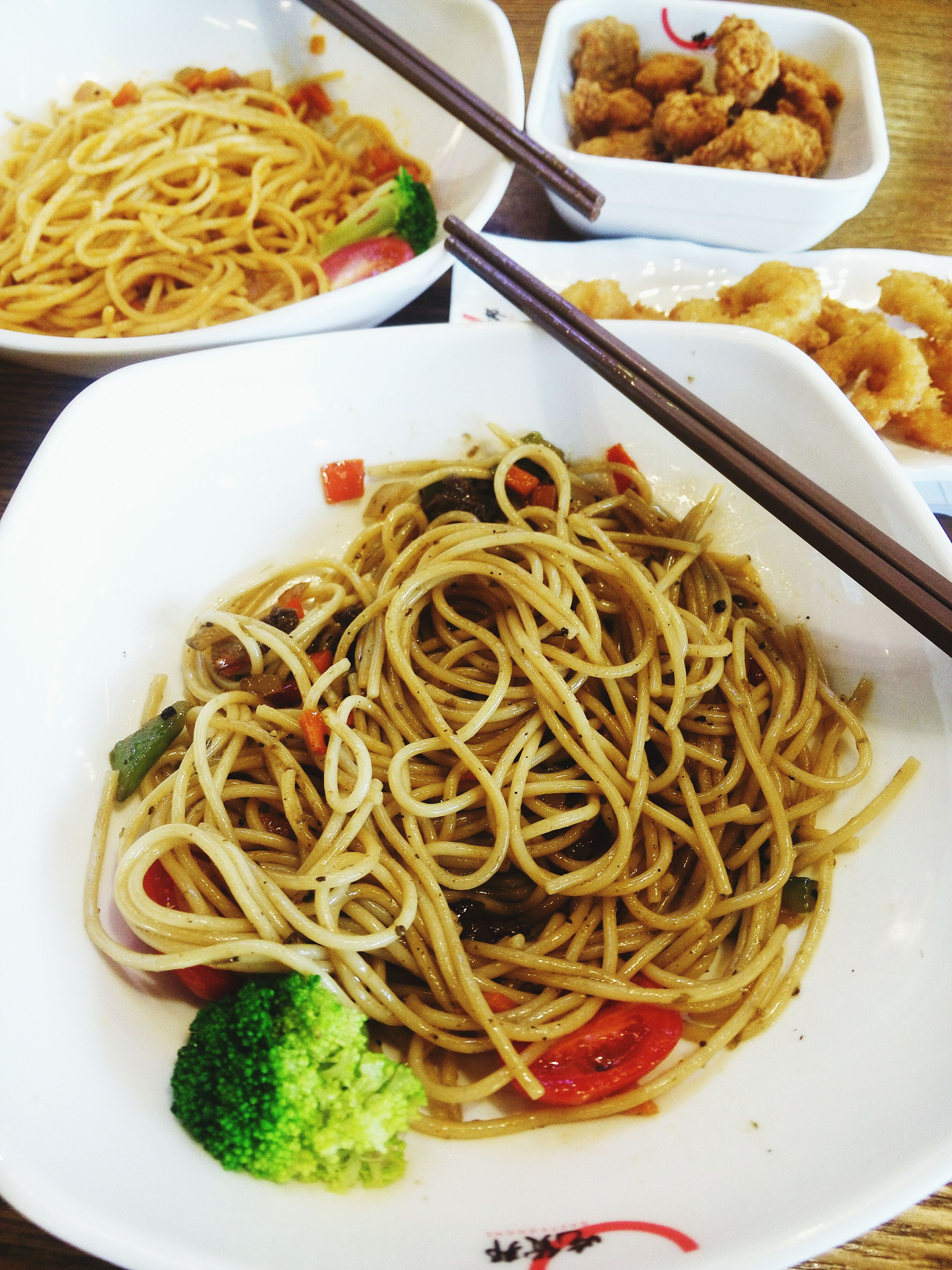 food, food and drink, indoors, freshness, ready-to-eat, plate, healthy eating, noodles, meal, pasta, still life, serving size, high angle view, close-up, vegetable, table, bowl, spaghetti, italian food, cooked