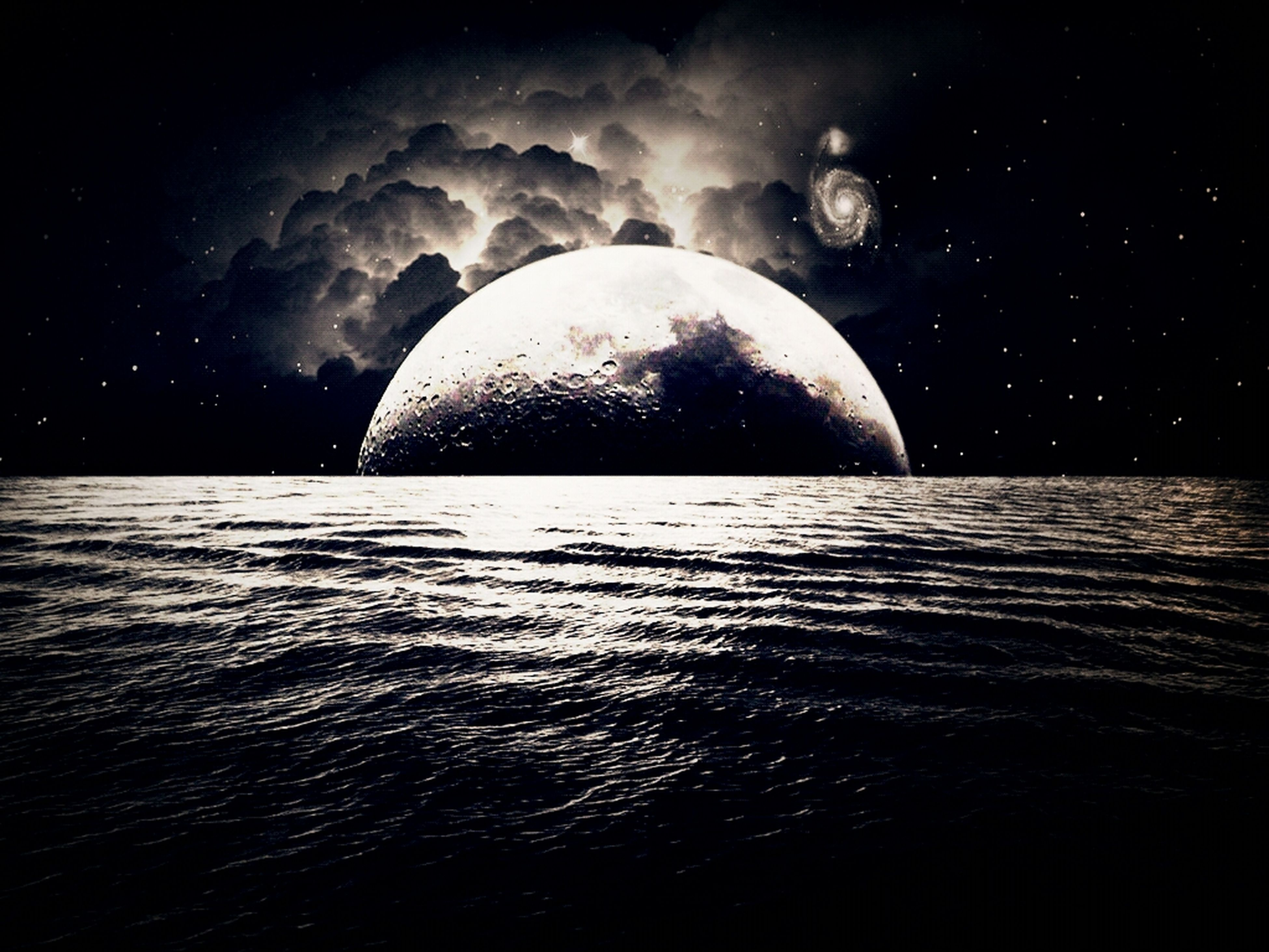 water, night, tranquil scene, scenics, reflection, tranquility, astronomy, circle, beauty in nature, nature, dark, waterfront, sea, rippled, sky, no people, outdoors, idyllic, moon, illuminated