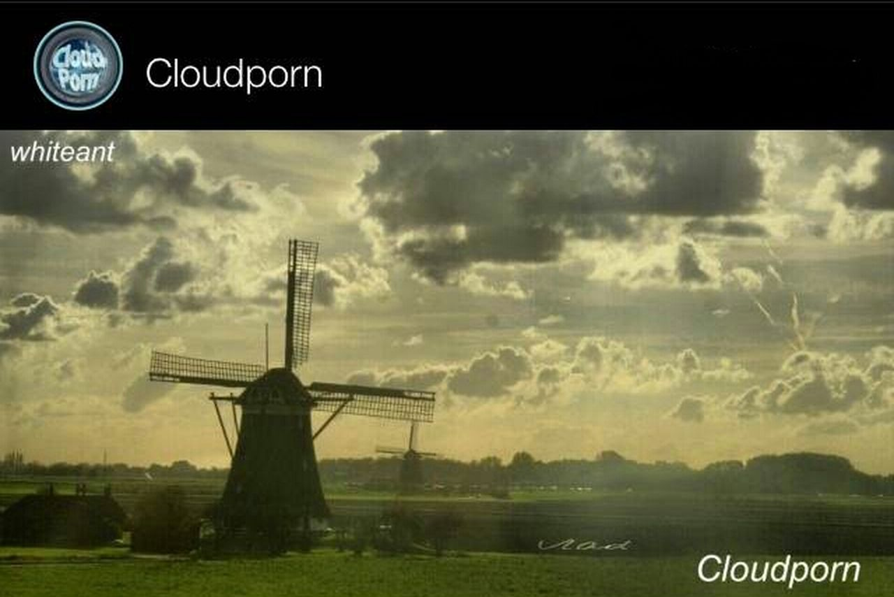 text, cloud - sky, communication, rural scene, no people, wind power, outdoors, sky, wind turbine, grass, nature, day