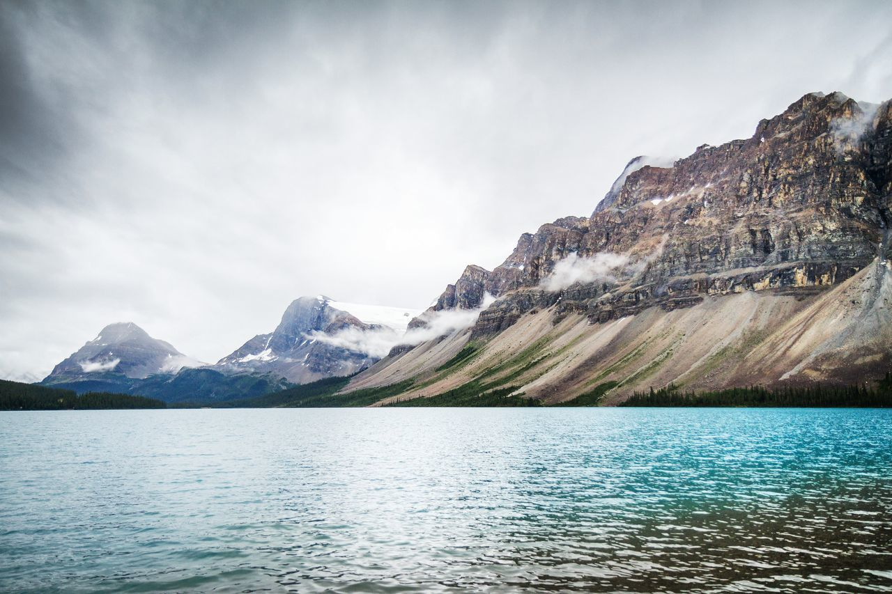 Beautiful stock photos of berge, Beauty In Nature, Bow Lake, Cloud - Sky, Day