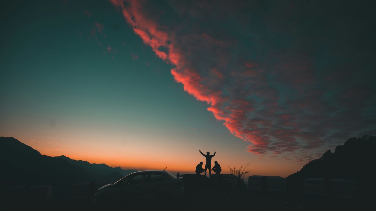 sunset, sky, beauty in nature, nature, scenics, orange color, silhouette, car, outdoors, cloud - sky, no people, land vehicle, mountain, tree, day