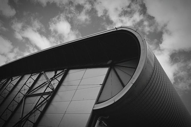Modern Architecture Architecture Modern Modern Building Sports Center Sky And Clouds Clouds And Sky Black & White Black And White Black And White Photography United Kingdom Nikon D3200
