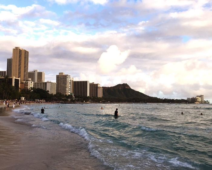 Hawaii Honolulu  Waikiki Beach Sea Water Architecture Building Exterior City Sky Real People Cloud - Sky Built Structure Outdoors Beach Nature Leisure Activity Day Vacations Adventure Men Aquatic Sport Scenics Wave
