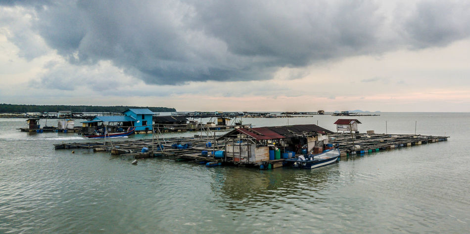 Cloud Fish Farm Floating Fish Farm Horizon Over Water Idyllic Nature No People Outdoors Overcast Rippled Sea Sky Tourism Tranquil Scene Tranquility Travel Destinations Water Fine Art Photography