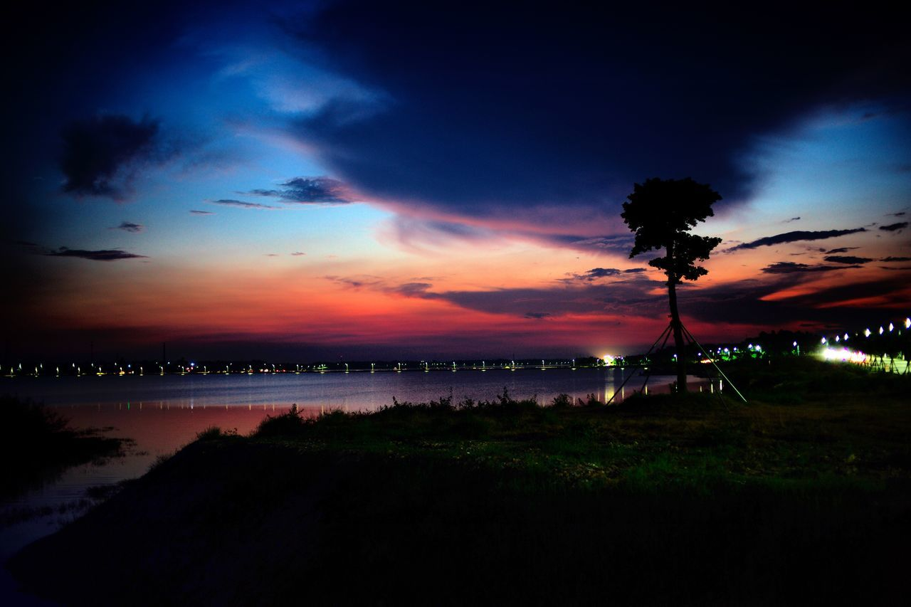 Sunset Beauty In Nature Nature Sky Scenics Silhouette Cloud - Sky Tranquil Scene Water Landscape Tranquility Outdoors Tree Lake No People Night Grass Animal Themes