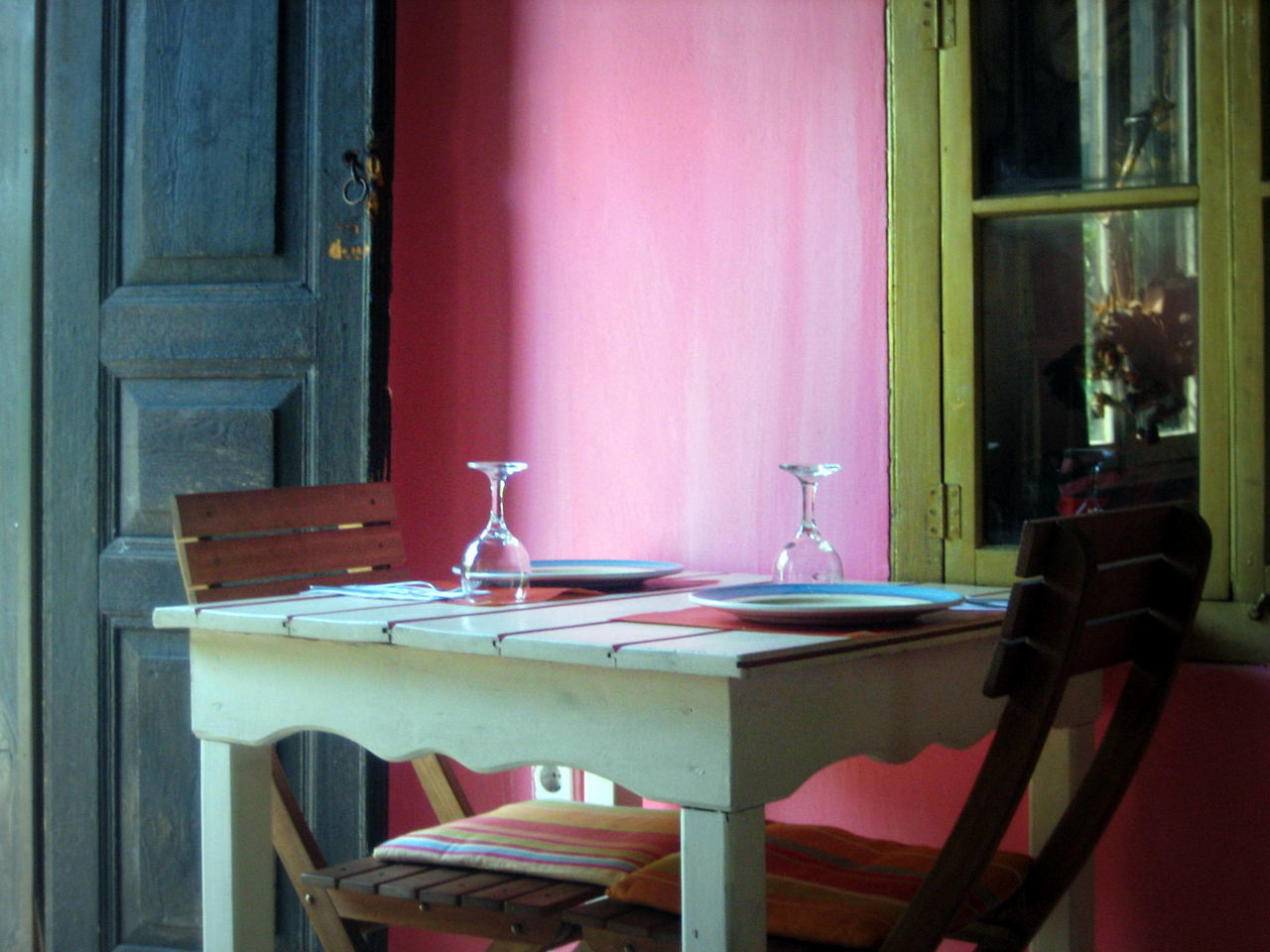 Table for two Absence Chair Dining Table Empty Indoors  Pink Place Setting Rhodes Rhodos Table Wine Moments