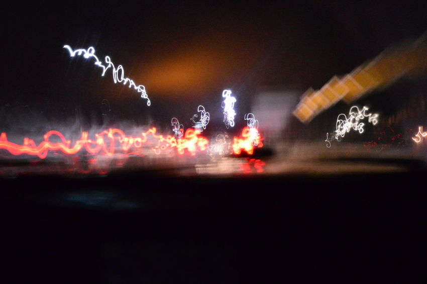 The City Light Ночь улица свет выдержка Дорога Машины фары фонари светофор движение