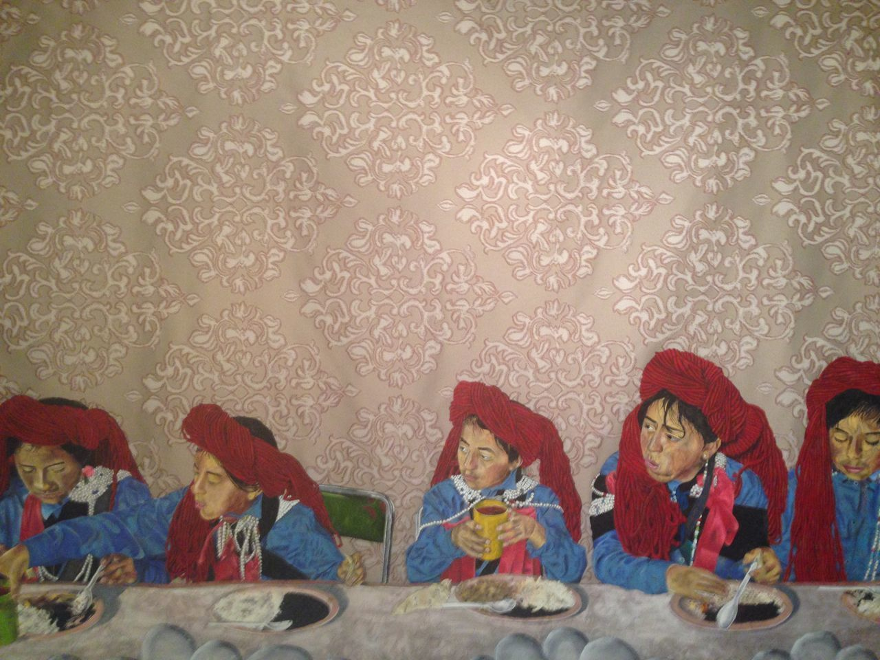 Eating Followme Indoors  Men Eat Beef Men Eating Mexican Folk Art Painting Of Supper Red Scarf Relaxing S Strange Supper Wall - Building Feature Wallpaper