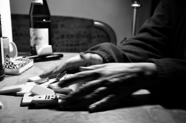 Employment Move Mix Domino Game Time  Move On Person Black And White Indoors  Game Monochrome Photography Taking Photo Close-up One Person Adult Eyeem Photography From My Point Of View