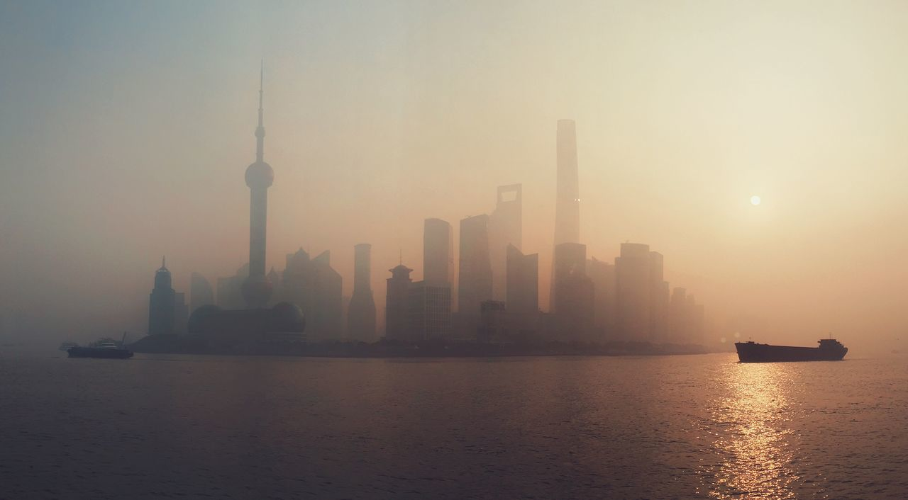 Tower Architecture Fog Megapolis Foggy Morning The Magic Mission Waterfront Water Tall Oriental Pearl Tower Foggy Orange Color Urban Skyline Urban Scene Modern Ship Atmosphere Town China Landscape Early Morning Ghost River Shanghai Sunrise