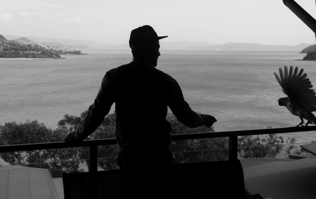 Silhouette Of Man Looking Towards Sea