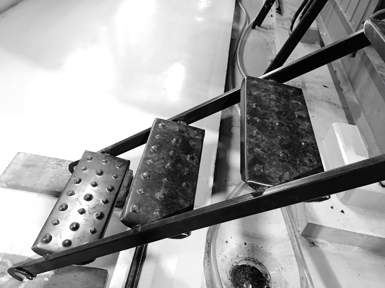 low angle view, metal, no people, day, sky, outdoors, close-up