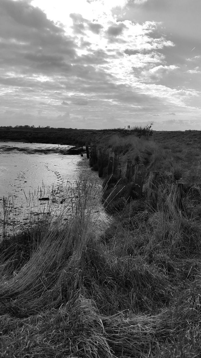 Creek Black And White Moody River Tidesout Clouds Countryside Mud Riverbank