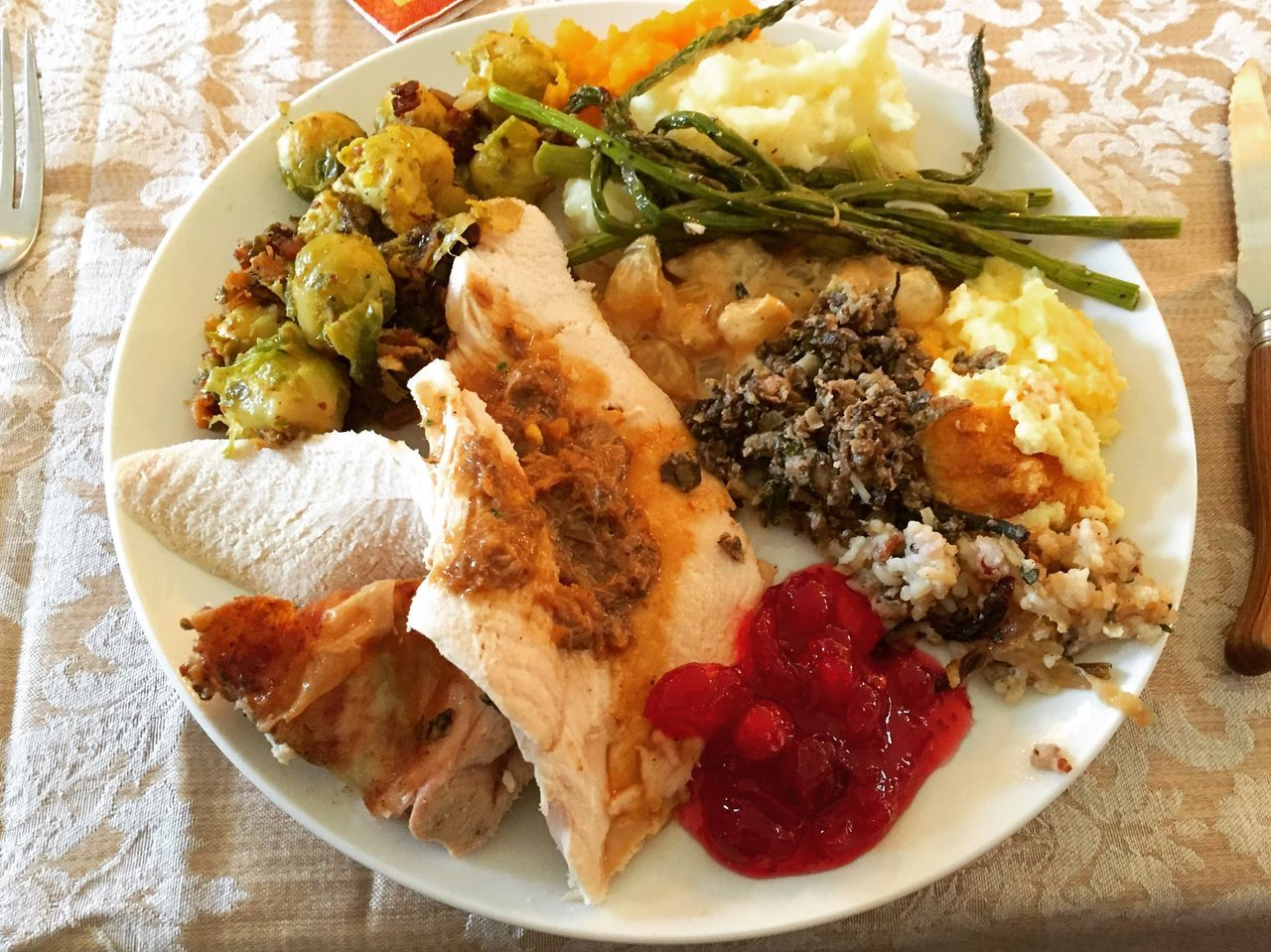 Thanksgiving Meal Thanksgiving Meal Ready-to-eat Food Food And Drink Freshness Healthy Eating Plate High Angle View Close-up Indoors  No People Day Dinner Celebration Happy Warm Eating Turkey Autumn Fall Sweet Family Togetherness Calm