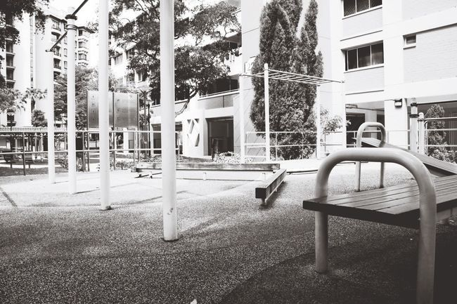 Monochrome Photography Architecture Building Exterior Built Structure Tree Residential Building Empty Residential Structure Chair House Absence Tree Trunk City Outdoors Lawn In Front Of Eyeem Singapore No People Backyard City Life -playground series