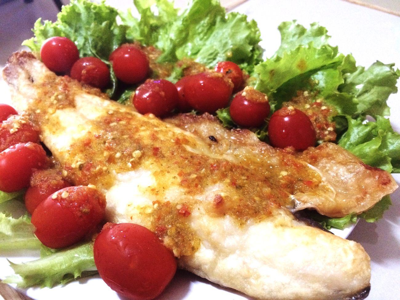 Fishfry Salad Dinner Time Lowcalorie Dietmenu