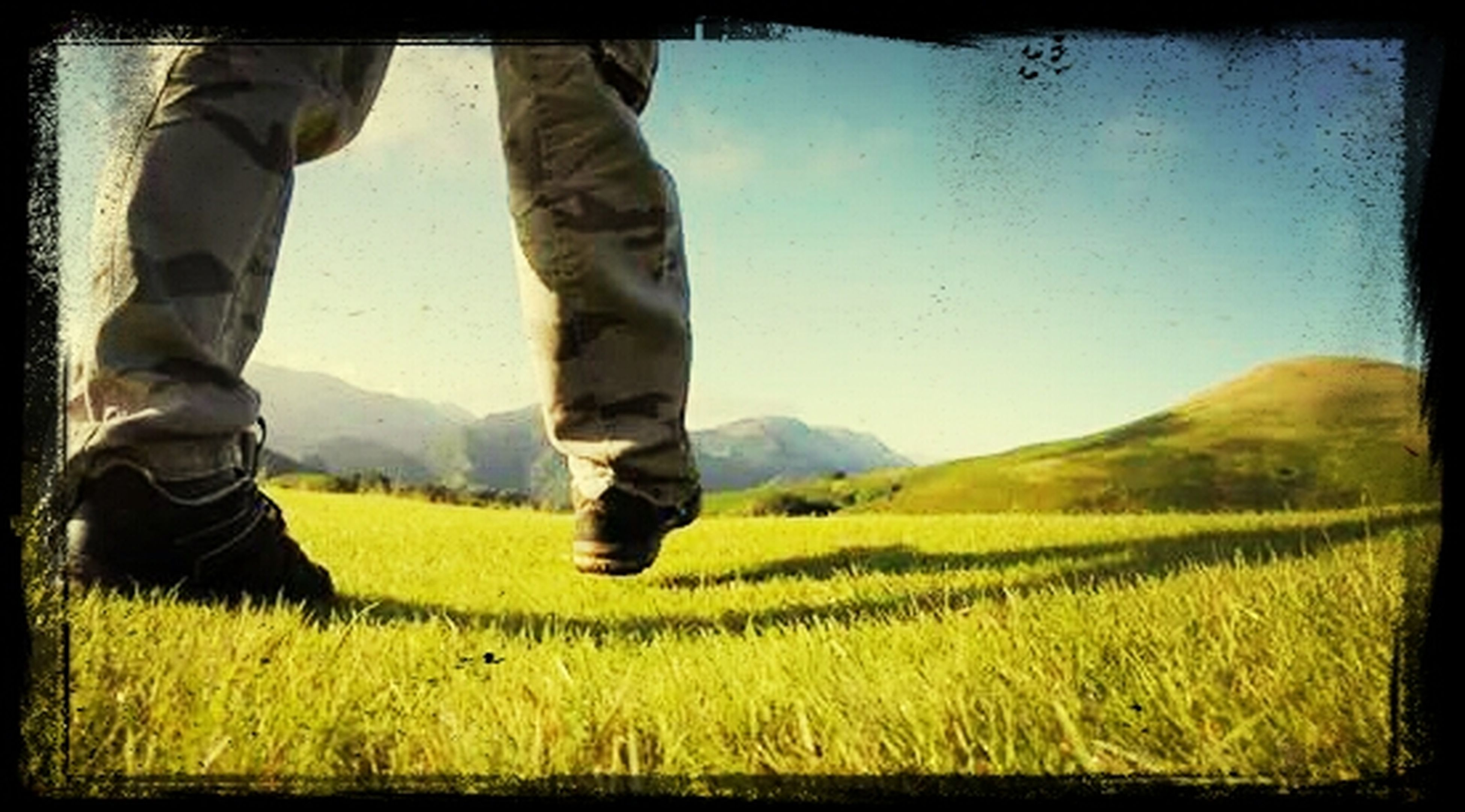 transfer print, auto post production filter, field, yellow, grass, agriculture, landscape, rural scene, standing, men, low section, nature, lifestyles, day, sky, clear sky, growth, green color