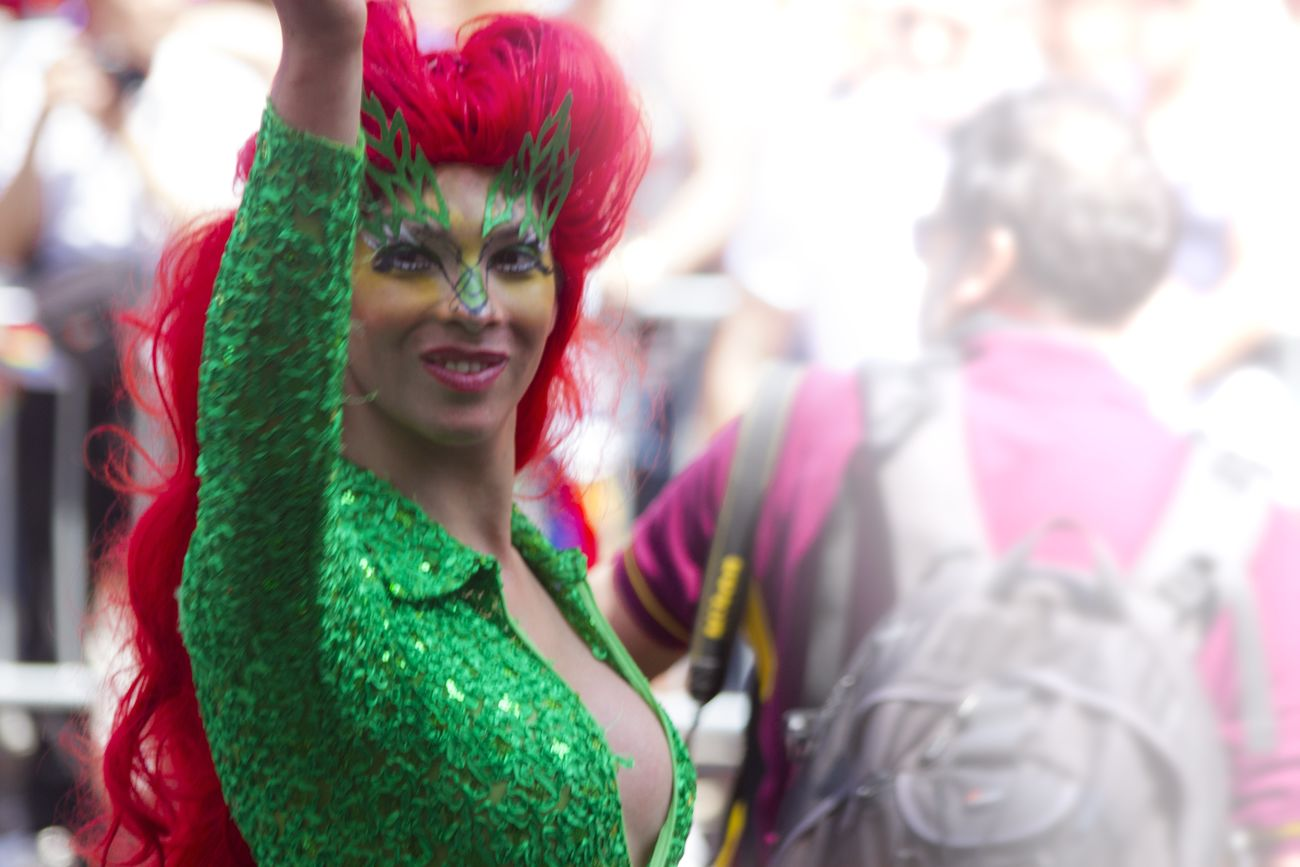 Pride Parade 2016. Fabulous Green Red Man Woman Power Colors Street Manhattan Street Photography Streetphotography Lgbt ❤️ Lgbt Portrait Parade Lgbt Pride Bodysuit Jumpsuit Hair Hairstyle
