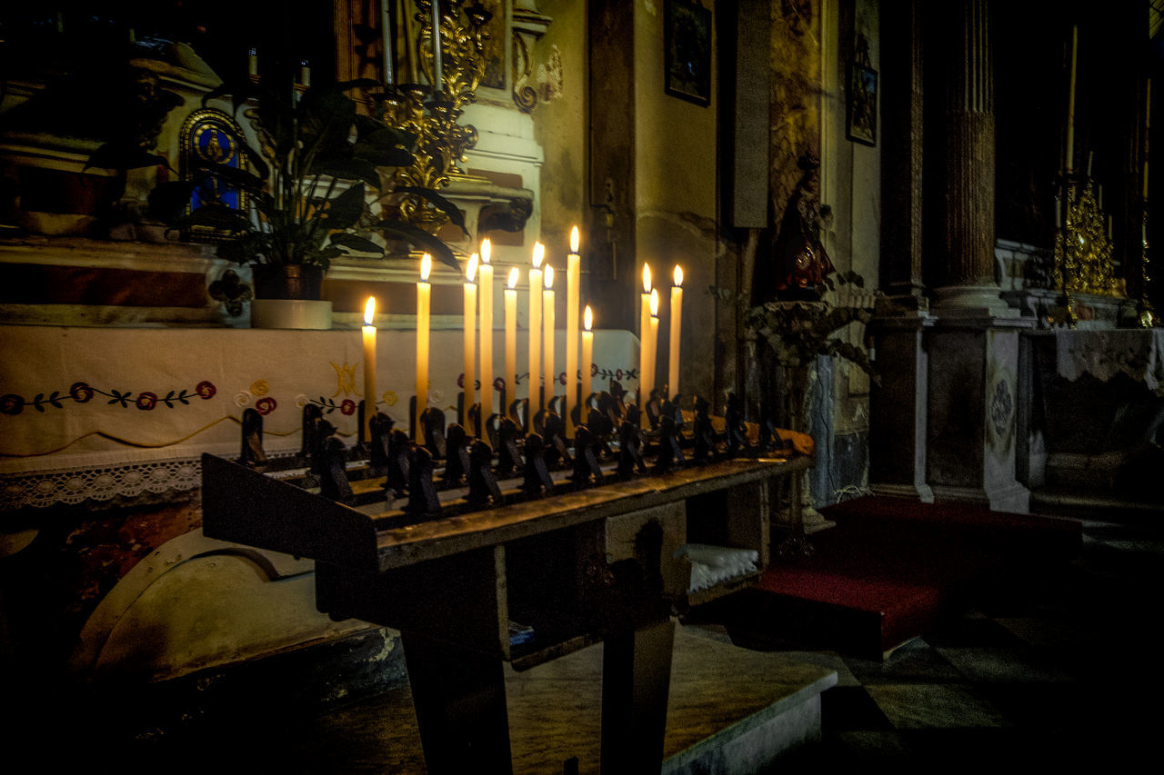 San Bartolomeo Apostolo Church, Zuccarello, Italy Burning Candle Candles Catholicism Christian Christianity Church Colours Illuminated In A Row Indoors  Lights No People Religion Spirituality