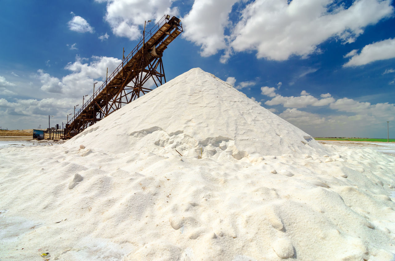 Mountain of salt in Manaure in La Guajira, Colombia Blue Blue Sky Clouds Colombia Day Factory Food Hill Industrial Industry Laguajira Mana Mine Mineral Mining Outdoors Production Refinery Riohacha Salt Seasoning Sky Town White Work