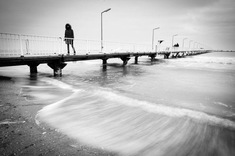 Sea Water Beach Outdoors Sky ND Filter Tripod Mareaneagra Romania Blacksea Mood Creative Longexposure Cloud - Sky B&w Blackandwhite Monochrome Streetphotography Streetphoto_bw Street Adrianmitu Winter Human In Geometry Geometry
