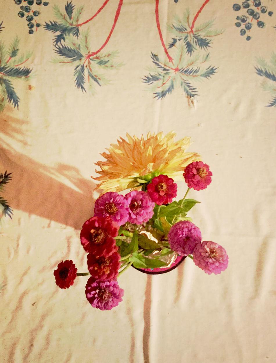 Flowers A Damask Table-cloth ArtWork Handmade Photography