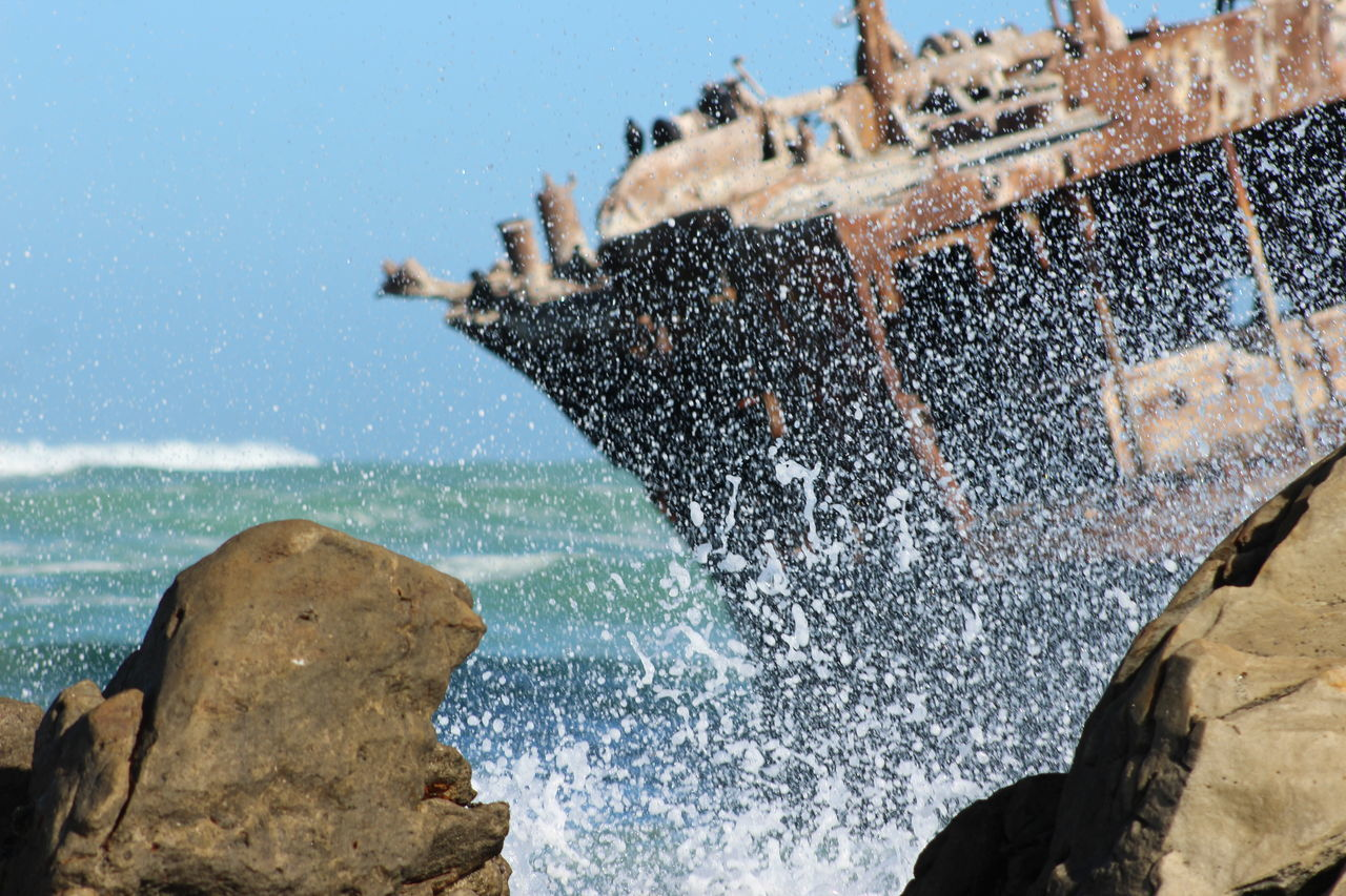 Agulhas Beauty In Nature Clear Sky Close-up Day Motion Nature No People Ocean Outdoors Rocks Sea Shipwreck Sky Water Wave