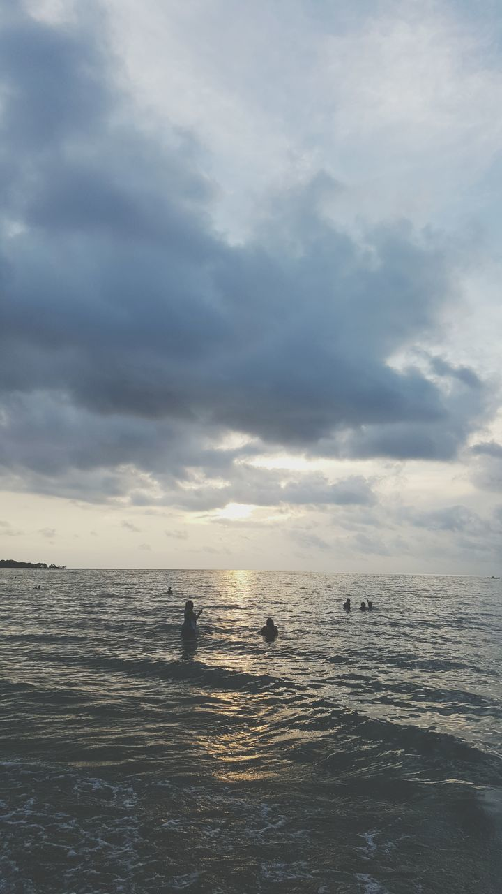 sea, water, nature, beauty in nature, cloud - sky, sky, tranquility, scenics, tranquil scene, outdoors, horizon over water, silhouette, waterfront, sunset, no people, wave, day