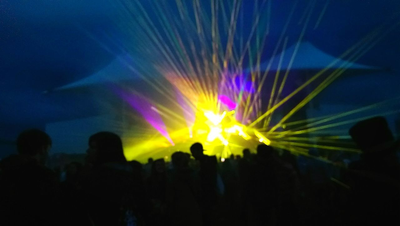 LED Show, Electro Party, Festival, Nightlife Music Large Group Of People Dancing Fun Stage - Performance Space Stage Light Light Beam,