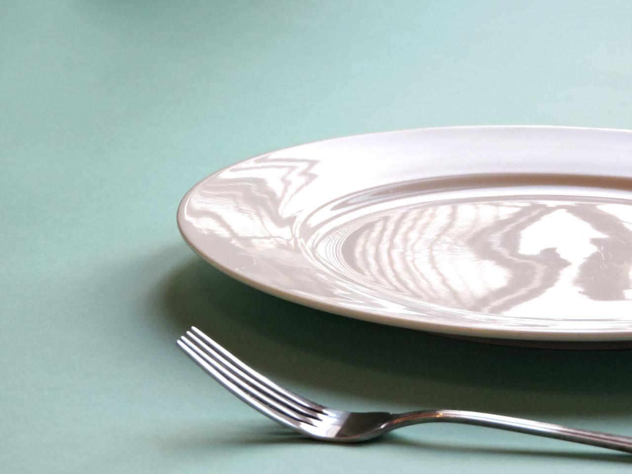 Blue Background Cutlery Dinner Plate Fork Knife Plate Studio White Plate