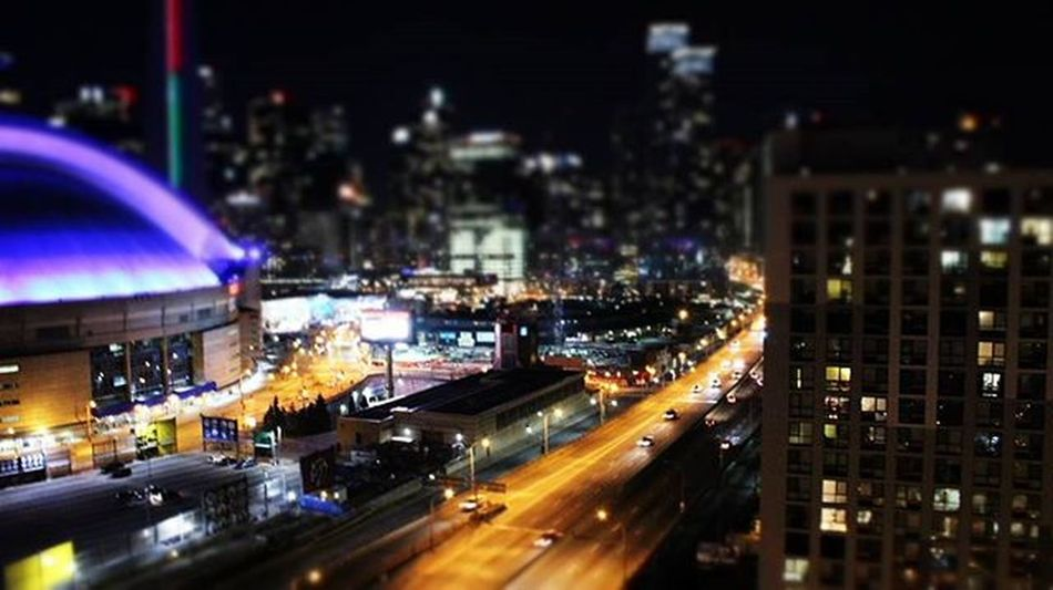 Toronto TorontoCLICKS Ontario Mybackyard Mycity Night Nightout Mybackyard Queenquay Rogerscentre Cntower Tiltshift Toy City Citylife Glow Glowing Nightlife Queenquay Downtown