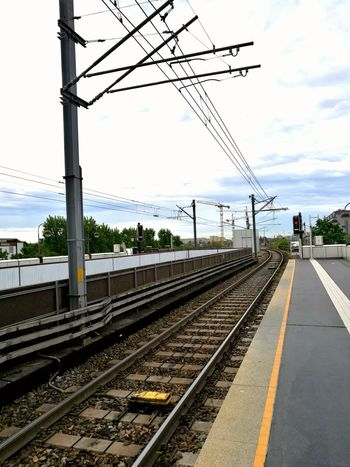 Wiener Linien Railroad Track Transportation Rail Transportation Power Line  Cable Public Transportation Day Mode Of Transport Outdoors Cloud - Sky Electricity  No People City
