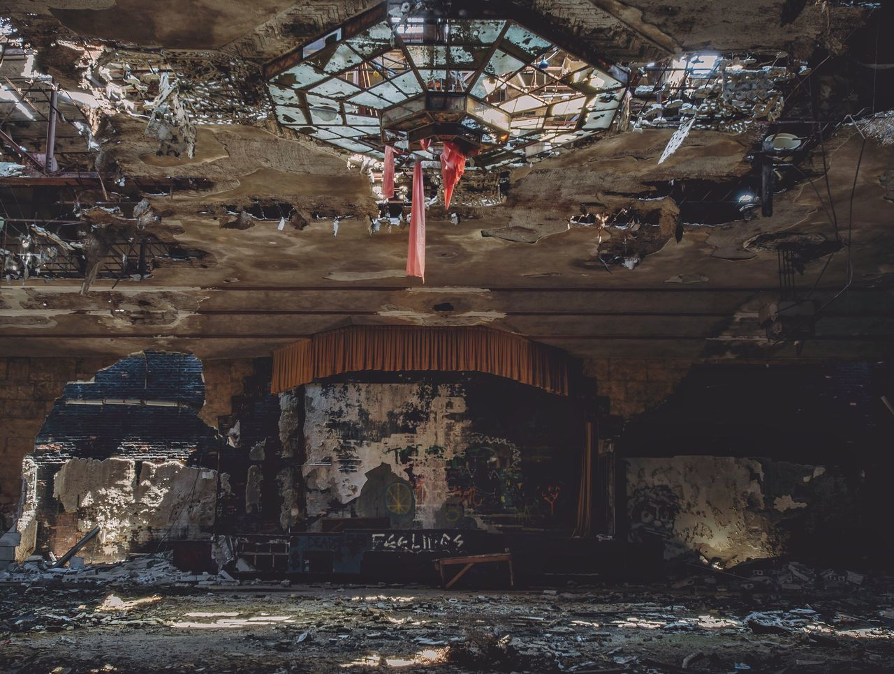 Ballroom blitz Built Structure Hanging Architecture Low Angle View No People Outdoors Day Abandoned Abandoned Places Abandoned Buildings Decay Exploring Explore