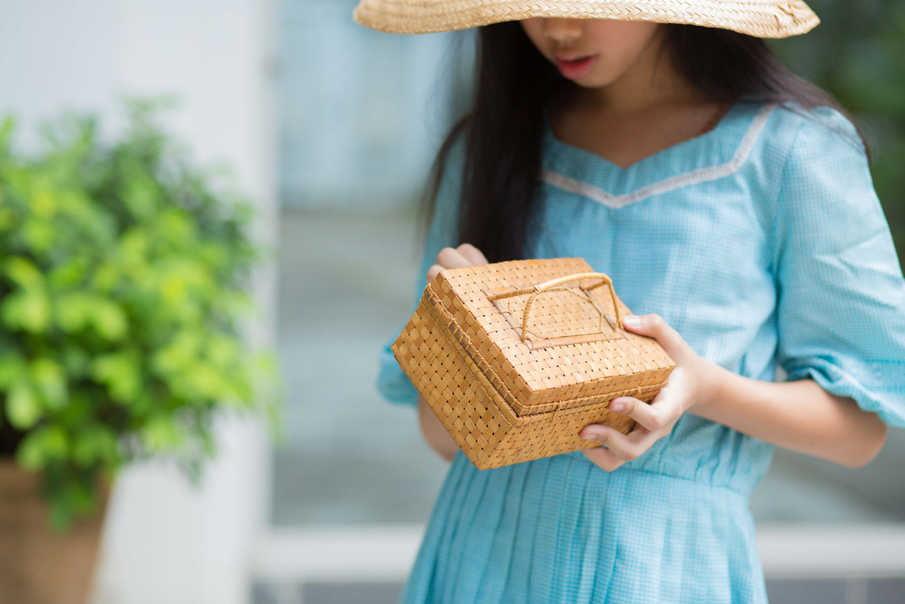 Basket Adult Adults Only Baguette Basket Close-up Day Domestic Life Dress Food Girl Handmade Hat Hat Old-fashioned One Person One Woman Only One Young Woman Only Only Women Outdoors People Portrait Vintage Woman Young Adult Young Women