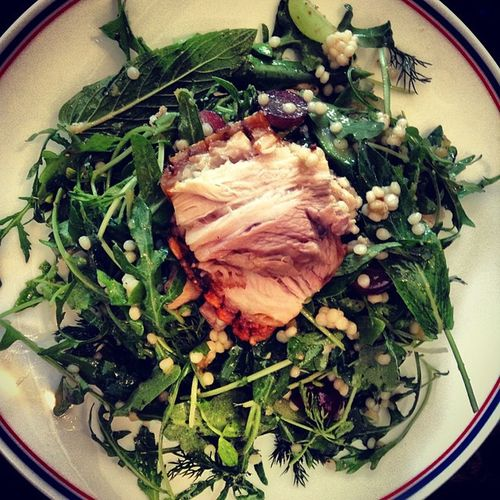Pork Belly Salad with couscous, dill and grapes